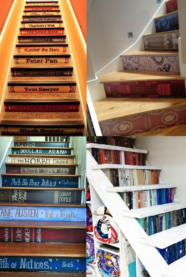 book stairs collage