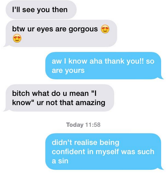 What happens when girls accept guys' compliments online
