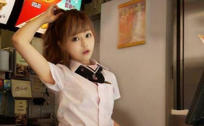 Japanese girl with mcdonald uniform