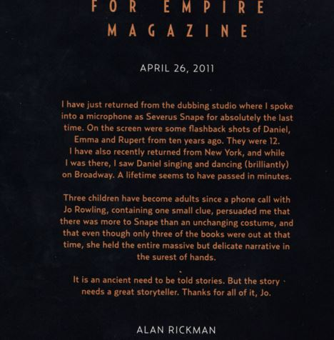 Alan Rickman's 'goodbye' letter to Harry Potter is simply