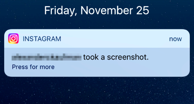 Does instagram notify you when someone screenshots a picture