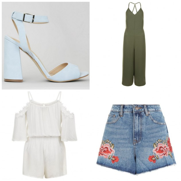 3a2f9a6057da Left to right  Blue Heels €37.99. Khaki Culotte Jumpsuit €39.99. White Off  The Shoulder ...