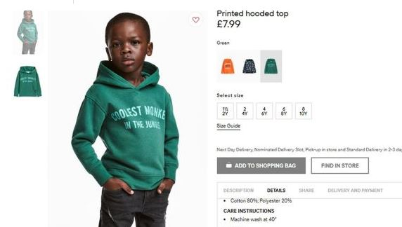 H&M apologises for monkey goof on black kid