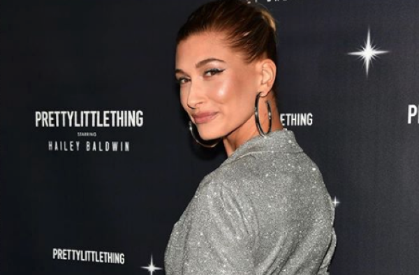 d2b42546a Hailey Baldwin's PrettyLittleThing launch party look SPARKLES