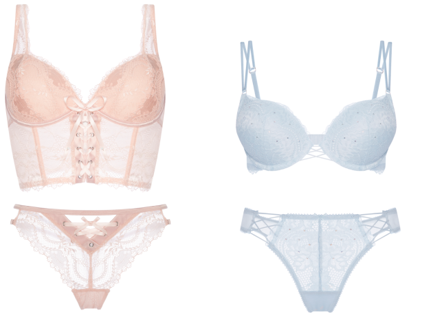 Pink lace bra  €12. Matching pink lace thong  €5. Pale blue Maximise  diamanté bra  €10. Pale blue diamanté 2-pack lace thongs  €10 fb6ea2ac2